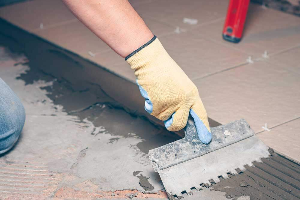 Travertine tile installation